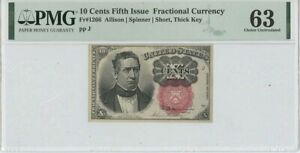 Fifth Issue 10 Cents Fractional FR#1266 PMG 63 Choice Unc Short Thick Key