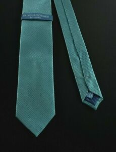 Haines & Bonner Of London Men's Size 57 Tie 100% Silk Blue Green Houndstooth NWT