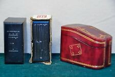 4 Vintage PLAYING CARD Decks ~+ Leather ART DECO Case + TWO KEM Plastic Boxes