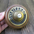 Antique Reproduction Brass Door Bell Wood Surround Electric Button Press