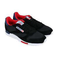 Reebok Classic Leather Ripple Clip SU Mens Black Low Top Sneakers Shoes