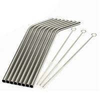 8Pcs Stainless Steel Metal Drinking Straws Reusable Straw +3 Cleaner Brush Kits
