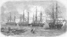 LATVIA. Attack on Russians, Balder River, Riga, antique print, 1855