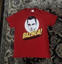 The Big Bang Theory T Shirt Sheldon Mens Size Medium (Red) BAZINGA!