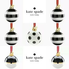 🎄Kate Spade Set of 7 Christmas Ornaments ⚫️⚪️ Stripes & Polka Dot