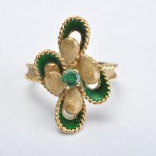 Anello, 18 Carati Oro, verde Smalto e Smeraldo, bella Lavoro di oreficeria