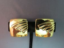 """Monet Comfort Clip Earrings Luxury Gold Plated Smooth Square Design 1"""" Raised"""