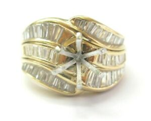 Baguette Diamond Semi Mount Ring 18Kt Yellow Gold 2.00Ct ( Center 1.50Ct-2.00Ct)