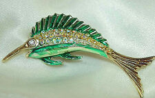 Fun Vintage 50's AB Rhinestone Enamel Fish Brooch 4 Seafood Night 65J6