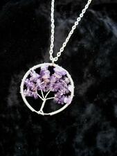 Tree Life Necklace Wired Gemstone Amethyst Silver Pendant Wicca Pagan Crystal