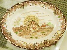 Turkey Platter~Royal Sealy Japan~Hand Painted IRON STONE Brown Transferware