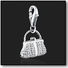 925 Sterling Silver clip su braccialetto ciondolo con cristallo Swarovski in 3D borsetta