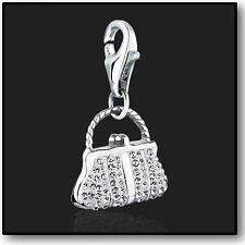 925 Sterling Silver Clip On Bracelet Charm with Swarovski Crystal in 3D Handbag