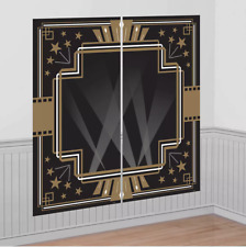 Hollywood Scene Setters Wall Decorating Kit Black & Gold Birthday Party Supplies