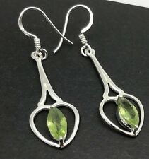Peridot marquise drop earrings, solid Sterling Silver, New, actual ones