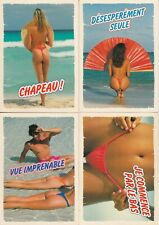 Lot 4 cartes postales postcard 10X15c FEMME NUE SEXY MER PLAGE SEINS NAKED WOMAN