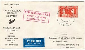 NEW ZEALAND 1937 FIRST FLIGHT COVER FROM AUCKLAND TO LONDON GOOD CONDITION AS SC