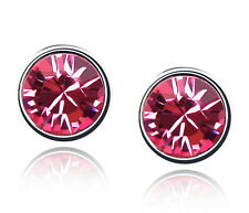 White Gold Plated Hot Pink Round Stud Earring Made With Swarovski Crystal XE72
