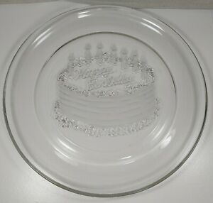 Large Happy Birthday Clear Glass Frosted Platter Plate Birthday Cake w/Candles