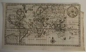 1712 SCHOUTEN ANTIQUE COPPER ENGRAVED WORLD MAP ON MERCATOR'S PROJECTION