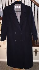 Womens Vintage Evan Picone Navy 100% Wool Trench Coat Lined Size 6 VGC