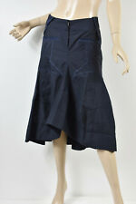 MARITHE + FRANCOIS GIRBAUD Navy Pinstriped Wool Blend Mermaid Midi Skirt S 27