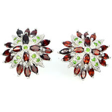 REAL GEM Reddish Mozambique Garnet Chrome Diopside 925 Sterling Silver Earrings