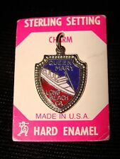VINTAGE RMS QUEEN MARY SOUVENIR ENAMEL/STERLING SILVER CHARM PENDANT-Made in USA