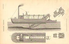 Impresión De 1874 ~ ~ bote de dragado máquina vista frontal & Equipos