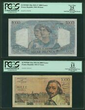 FRANCE  1945-56  1000 FRANCS BANKNOTES, GROUP LOT OF (2), PICK#130a & PICK#134a