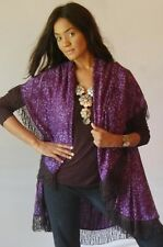 ZZ126 plum jacket wrap M L 1X 2X-2 hole batik fringed shawl collar