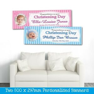 2 PERSONALISED CHRISTENING PHOTO BANNERS (CONGRATULATIONS)AVAILABLE PINK OR BLUE