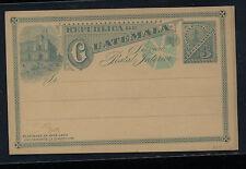 Guatemala  post card  with blue cancel  3 cent blue card unused          FA0814