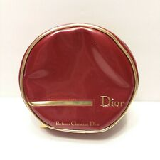 Christian Dior Perfume Red Makeup Bag Pouch Round Zipper Travel Gold Trim/Pull