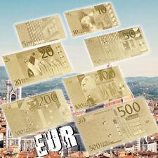 WR Note l'Europe 5 € - 500 € EURO BILLET Set 7pcs feuille d'or argent/W Certificat