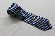 KR3313 Enrico Mori  Krawatte  blau, weiß, schwarz glänzend gestreift