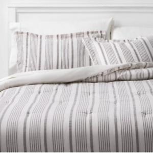 Threshold Classic Stripe Comforter & Sham 3PC Set King White/Grey Midweight NEW