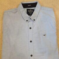 Hollister Shirt Button Up Short Slv Blue Men's Epic Flex Stretch Shirt Sz Large