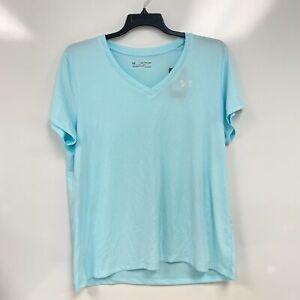 Under Armour Womens Breeze Blue UA Tech Twist Logo V-Neck T-Shirt Size XXL $24