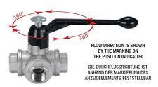 """3-Wege Messingkugelhahn 3/4"""" Triflux L-Bohrung und Alu-Handhebel 360° Absperrung"""