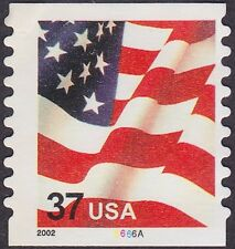 US - 2002 - 37 Cents United States Flag Coil #3632 Plate # Single Plate # 6666A