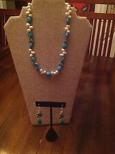 Bead Handmade Necklace and Earrings Set Pearl, Turquoise & Silver Sea Turtle