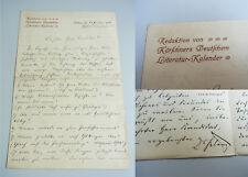 Heinrich KLENZ (1860-1925): Eh. Brief Leipzig 1908 über August DÜHR (1806-1896)