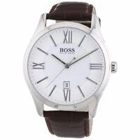 Hugo Boss 1513021 Ambassador Brown Leather Strap White Dial Quartz Men's Watch