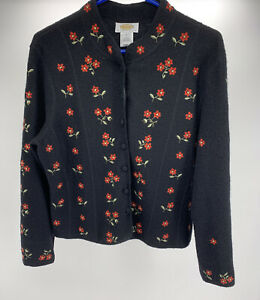 Talbot's Petites Black Floral Embroidered Cardigan Sweater Size L