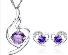 Sterling SILVER Heart Love Crystal Pendant Necklace Stud Earrings Set GiftBox G7