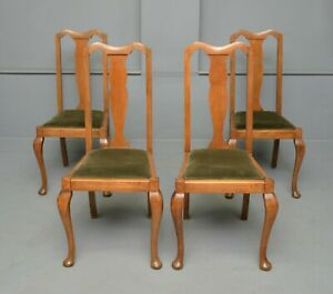 Set Of Four 1920s Queen Anne Style Walnut Dining Chairs