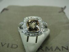 DAVID YURMAN AUTHENTIC ALBION 7MM MORGANITE PAVE DIAMOND RING SIZE 5 DY.POUCH