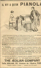 PIANO PIANOLA THE AEOLIAN COMPANY PARIS PUBLICITE 1912