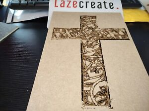 Wooden laser engraved cross sign plaque Christianity Bespoke design